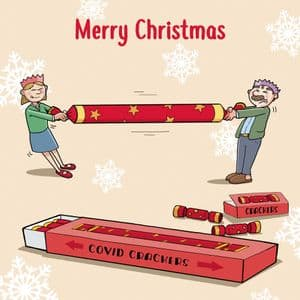 CV6  Funny Christmas Card COVID Crackers
